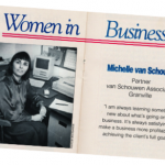 Michelle van Schouwen and her prized Mac SE, circa 1988. The desk was a door on two filing cabinets.
